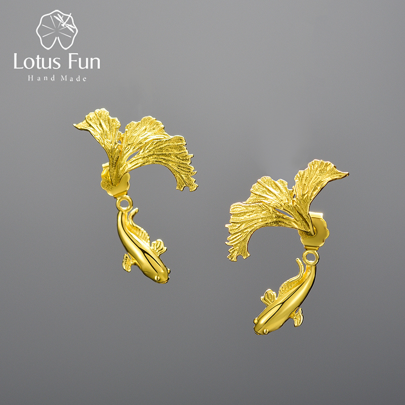 Lotus Fun 18K Gold Unusual Divided Design Fighting Fish Stud Earrings for Women 925 Sterling Silver Original Jewelry 2021 Trend