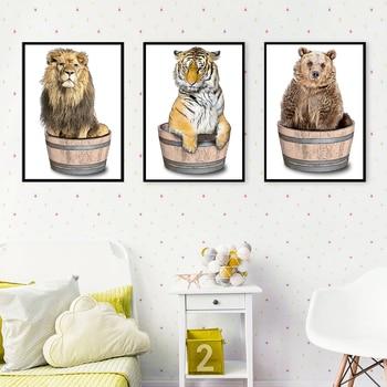 Bonito Len elefante Tigre jirafa oso vivero cuadro sobre lienzo para pared...