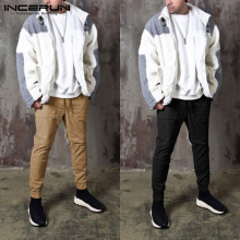INCERUN Men Casual Pockets Solid Color Korean Chic Pants Elastic Waist Joggers  Trousers Fashion 2020 Men Streetwear Cargo Pant