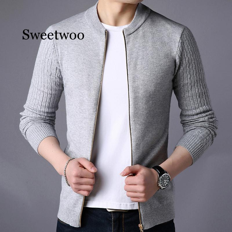 Spring New Men's Sweater Male Stand Collar Jacket Solid Color Sweaters Knitwear Warm Sweatercoat Cardigans Men Clothing SWEETWOO