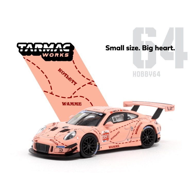 Tarmac Works 1:64 Pink Pig 911 GT3 R China GT 2018  Racing Diecast Model Car