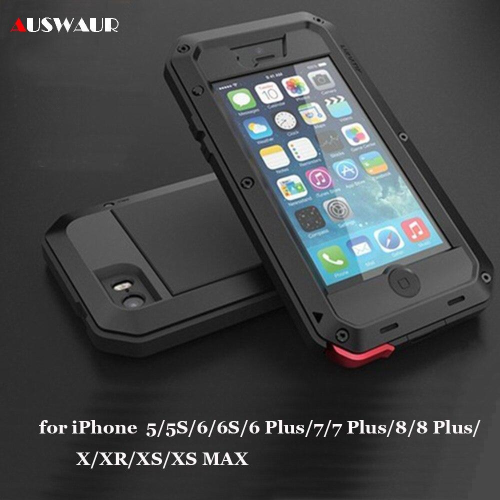 Сверхпрочный армированный чехол для iPhone 5 6 7 8 Plus X XR XS 11 12 Mini Pro MAX Life, водостойкий, ударопрочный, грязеотталкивающий, алюминиевый металлически...