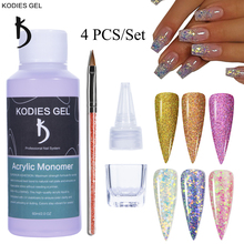 KODIES GEL 4 PCS/Set Acrylic Nails Dipping Powder Kit Professional Monomer Liquid Brush Cap Tools Acrylic Glitter Powders Suppli