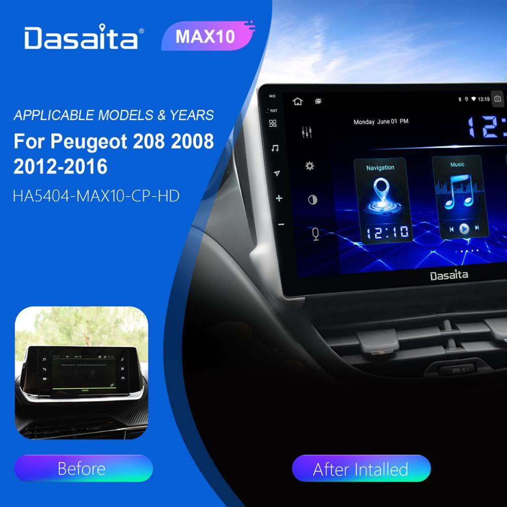 Dasaita Android 10 Car Multimedia Carplay for Peugeot 2008 208 Radio 2012 2013 2014 2015 2016 TDA7850 1280*720 GPS Navigation