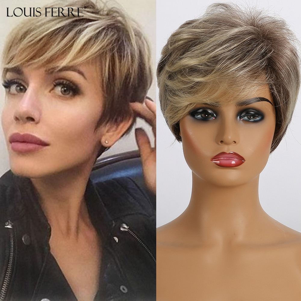 LOUIS FERRE Women's Short Straight Wig Pixie Cut Synthetic Wigs Natural Ombre Blonde Brown Black Wigs With Side Bangs Cosplay
