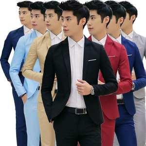Men\'s Fashion One Button Suit Coat Wedding Business Casual Slim Lapel Jacket