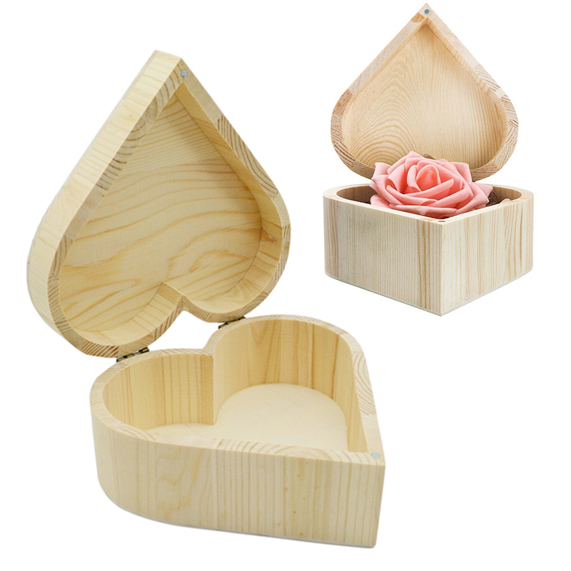 Simple Heart-shaped Jewelry Wooden Box Exquisite Cute Jewelry Storage Box Ring Earring Magnet Buckle Love Storage Organizer