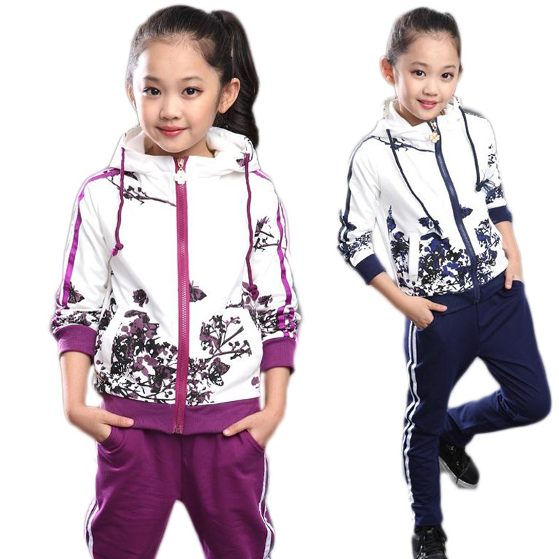 Clothing Set Girls Clothes Jacket Floral Zipper Kids Hoodies Pants Kids Tracksuit For Girls Clothing Sets Sport Suit 2021 Spring 4