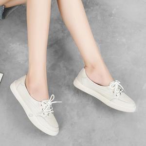 Image 5 - ผู้หญิงรองเท้าสบายๆสบายสบายสีขาว Nude รองเท้าผ้าใบแฟชั่น Lace Up แยกหนัง Casual รองเท้า