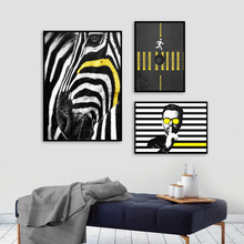 Nordic Figure Canvas Art Painting Abstract Zebra Poster and Print Black and White Pictures Wall Art for Living Room Office Home black white baby animal rabbit tail canvas art print and poster nursery bunny canvas painting for kids room nordic wall decor