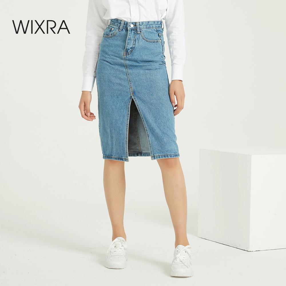 Wixra Classsic Denim Skirts Solid Warm Skirt Streetwear Casual Slit High Waist Pockets Pencil Skirt Spring Summer