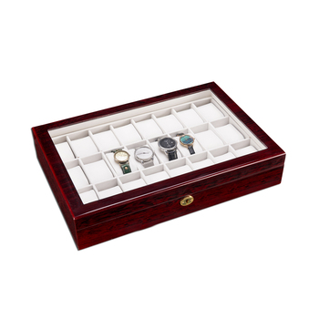 24 Slots Wooden Case  Watch Display Case Glass Top Jewelry Storage Organizer Gifts LXH