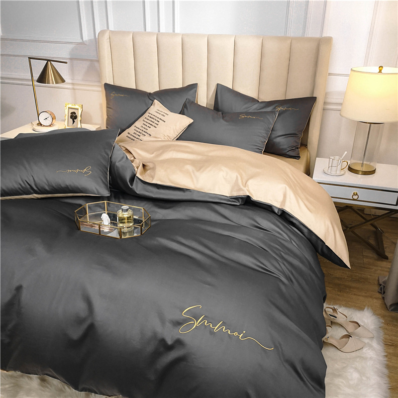 OLOEY 60S long-staple cotton Bedding Set Egyptian Solid color embroidery Bed set Duvet Cover Bed Sheet spread Fit sheet bed set 2