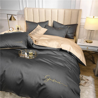 OLOEY 60S long staple cotton Bedding Set Egyptian Solid color embroidery Bed set Duvet Cover Bed Sheet spread Fit sheet bed set