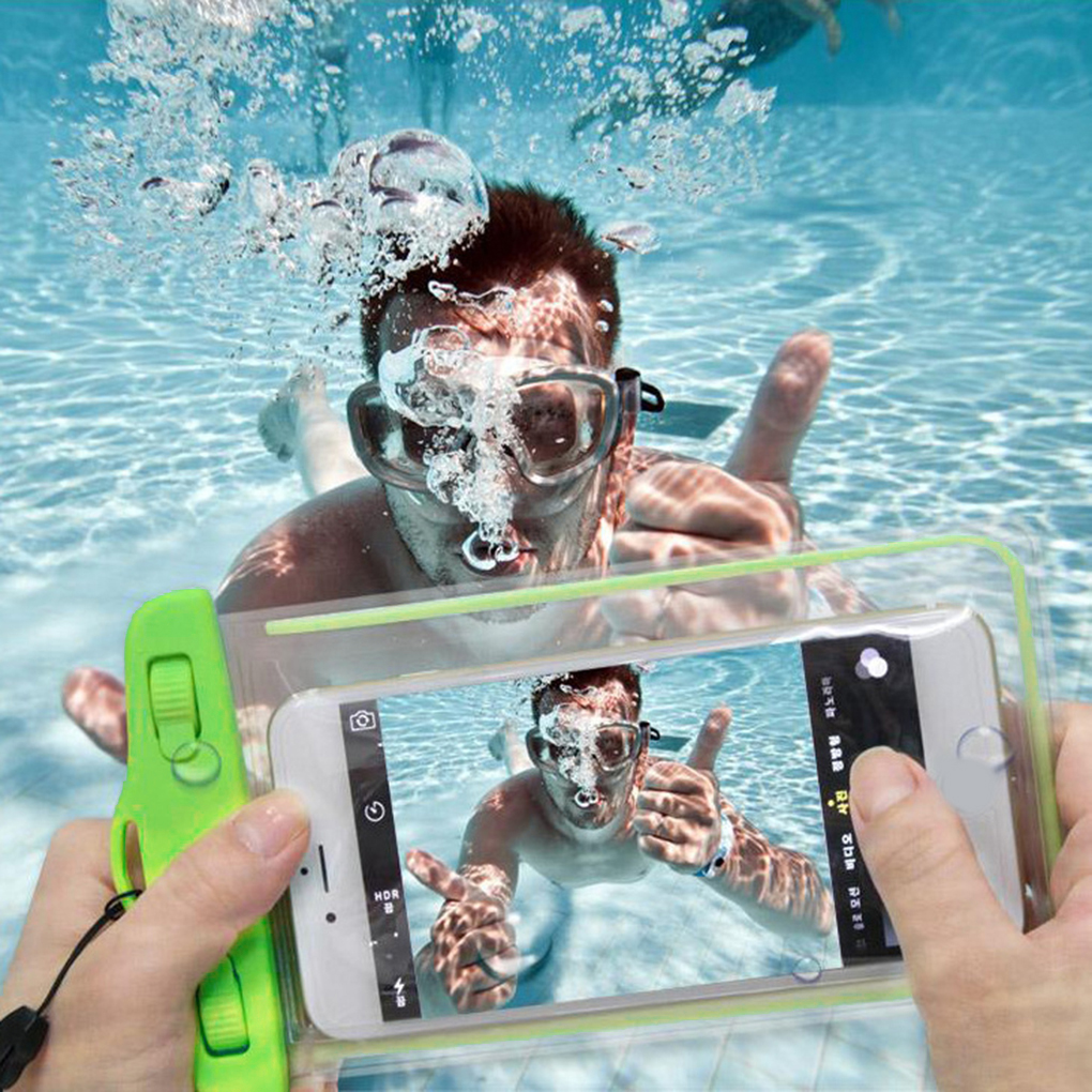 Swimming Waterproof Phone Underwater Pouch with Strap Noctilucent PVC Cover Bag Dry Case for Smartphones image
