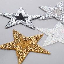 6x6 см 7 цветов хрустальные стразы звезда железо на патчи аппликация для одежды обуви Наклейка на мешок полосатая одежда наклейка аксессуары