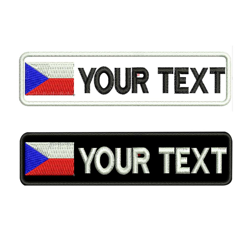 Custom Czech Republic Name Patches Tags Personalized Iron On Hook Backing