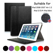 Smart Stand Cover Case For IPad 2/3/4 With Detachable Wireless Bluetooth Keyboard UK English Layout