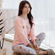 2019 Autumn Cotton Pajama Sets for Women Long Sleeve Pyjama Cute 90s Girls Cartoon Sleep