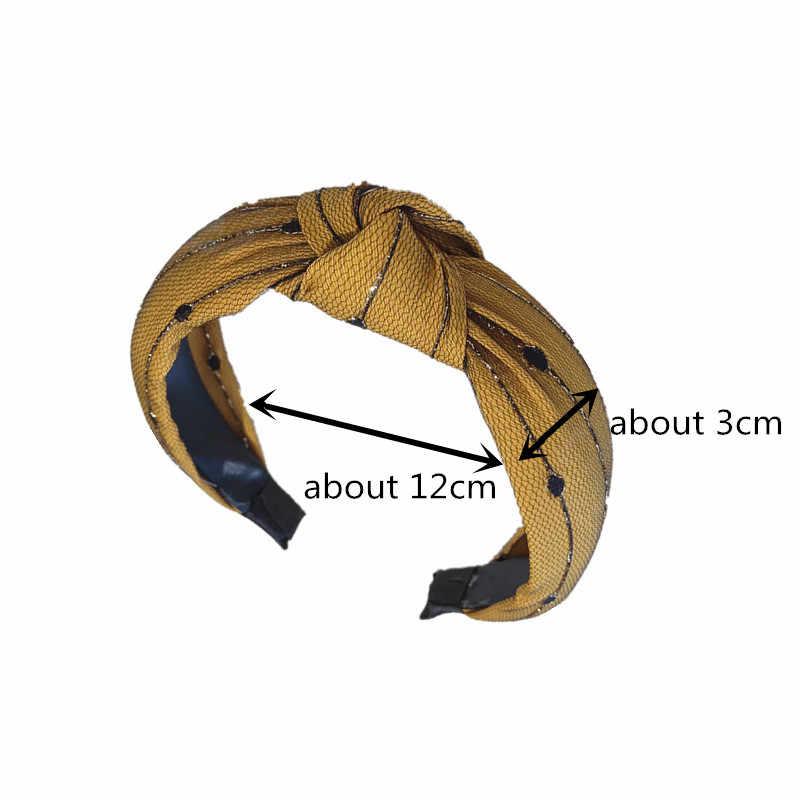 Helisopus Корейский Новый головной убор модная пряжа завязанная широкая повязка для волос женский головной убор несколько цветов аксессуары для волос