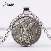 Collier archange St.Michael, Protection ange, Saint bouclier, pendentif en verre, amulette Orhodox, bijoux chrétien