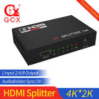 Divisor HDMI HDCP 4K 1x2 1 en 2 salida amplificador de señal de potencia 1080P 3D 1x4 divisor de Audio convertidor HDMI 1x8 adaptador HDMI
