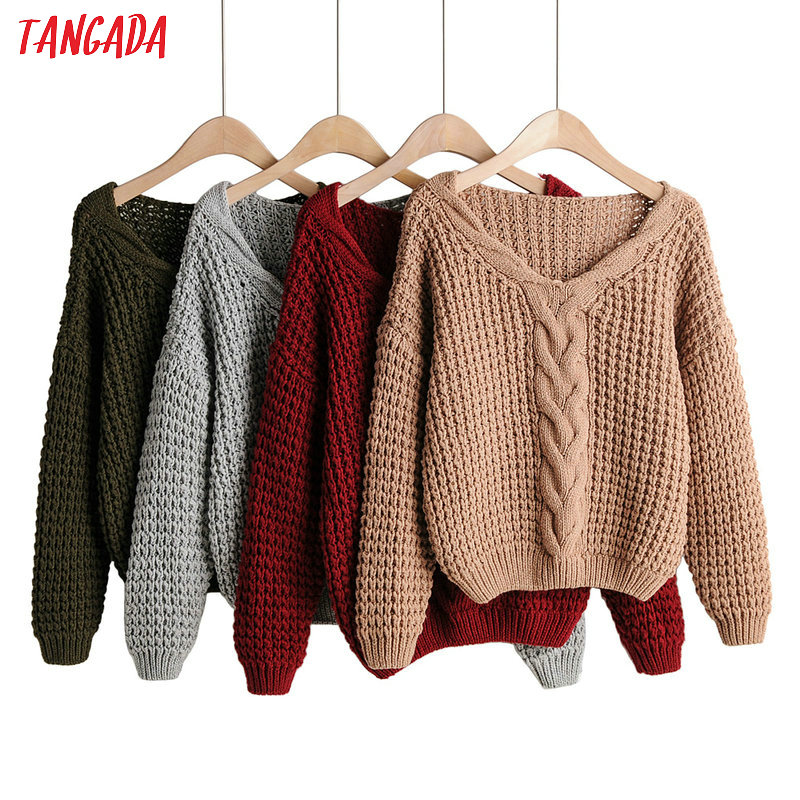 Tangada  Women Elegant Twist Sweater Short Style Bat Long Sleeve V Neck Stretchy Pullovers Female Casual Loose Tops 1F102