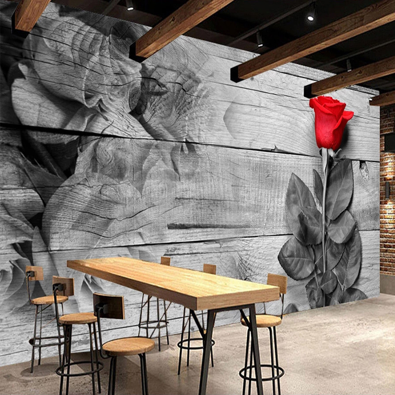 Custom 3D Photo Wallpaper Romantic Classical Rose Flower Wood Board Wood Grain Mural Bedroom Restaurant Decor Papel De Parede
