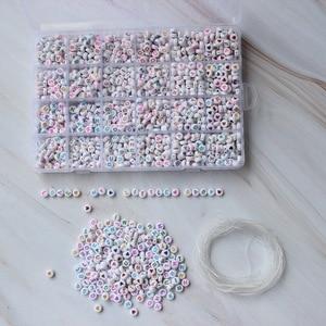 Image 5 - 1200 шт. кубические Акриловые Бусины, буквы для детей, сделай сам, ожерелье, браслеты, материал из бисера, пластиковые бусины с буквами, набор коробок