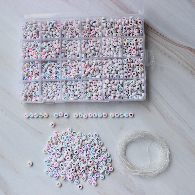 Image 5 - 1620pcs Round Acrylic Letter Beads Set for Kid Bracelets Necklace Making Beaded Material Plastic Alphabet Beads boxs-in Beads from Jewelry & Accessories