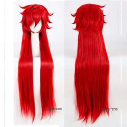 Kuroshitsuji mordomo preto grell sutcliff perucas cosplay vermelho longo reta resistente ao calor peruca de cabelo sintético + peruca boné
