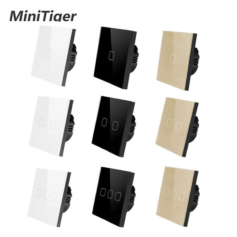 Minitiger EU/UK standard 1 Gang 1 Way Only Touch Function Switch Light Wall Touch Switch White Crystal Glass Panel Touch Switch