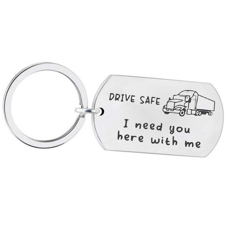 Personalised Lorry Truck Keyring Chain Birthday Driver Father Dad Engraved Gift