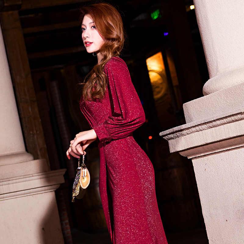 It's Yiiya ชุดราตรี Burgundy Sequined Shining Evening Gowns อย่างเป็นทางการสง่างาม Mermaid แยก Robe de Soiree สำหรับสาว K061