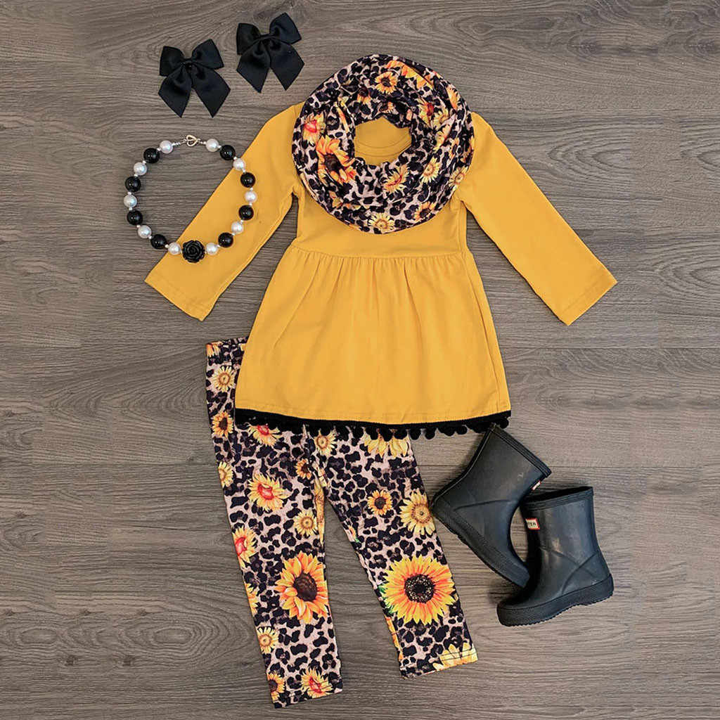 Toddler Baby Girls Tassels Dress+leopard Sunflower Print Pants+scarf Outfits Baby Suit Baby Clothes Newborn Suit
