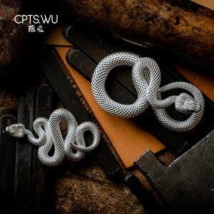 Image 2 - CPTS.WU S925 ثعبان سلاسل المفاتيح التصميم الأصلي اليدوية مفتاح سلسلة موضة الحيوان حلقة رئيسية حقيبة يد قلادة الشرير الصخرة