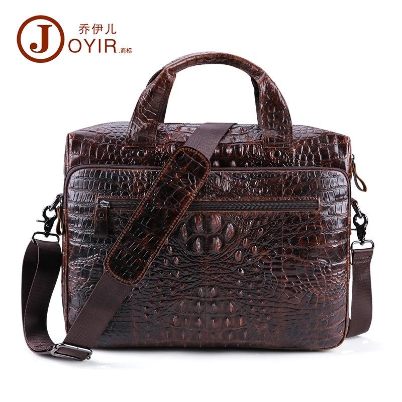 Men Briefcase Genuine Leather Men's Bag Office Bags For Men Laptop Bag 15.6 Inch Business Briefcase Men Croco Design Work Bag