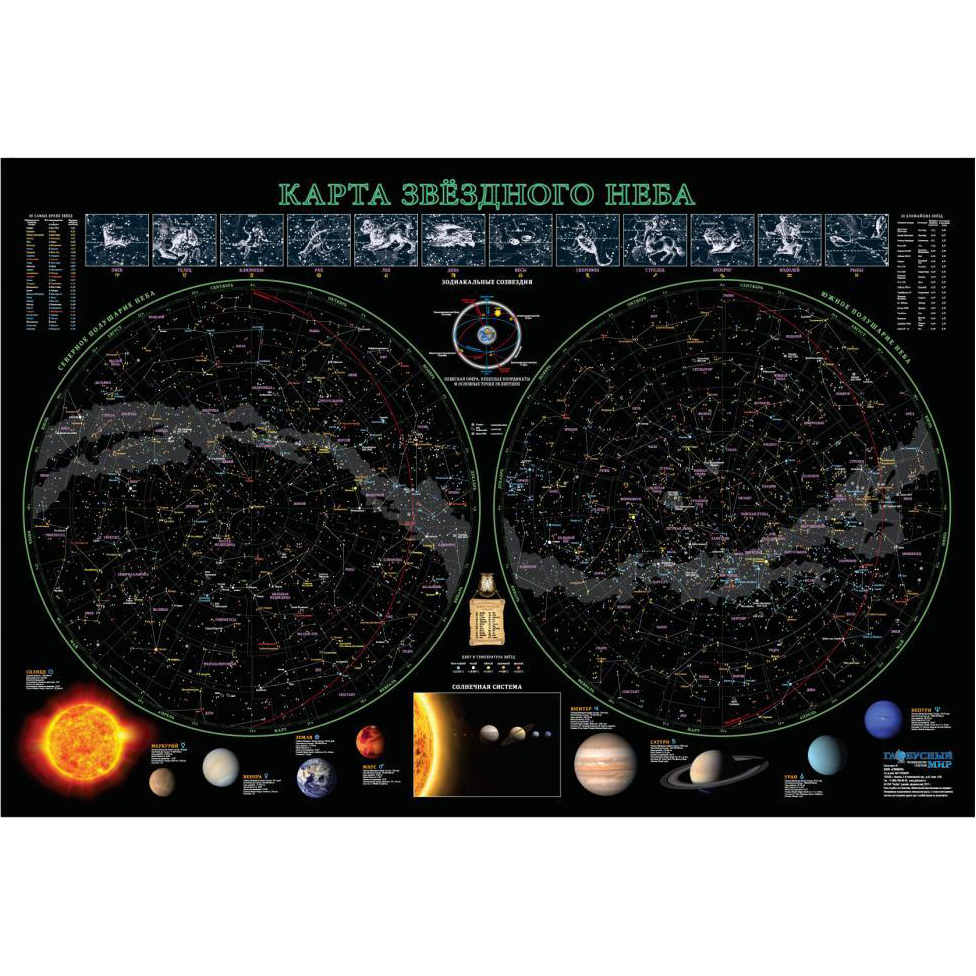Star Map, 68x102 Cm (laminated)