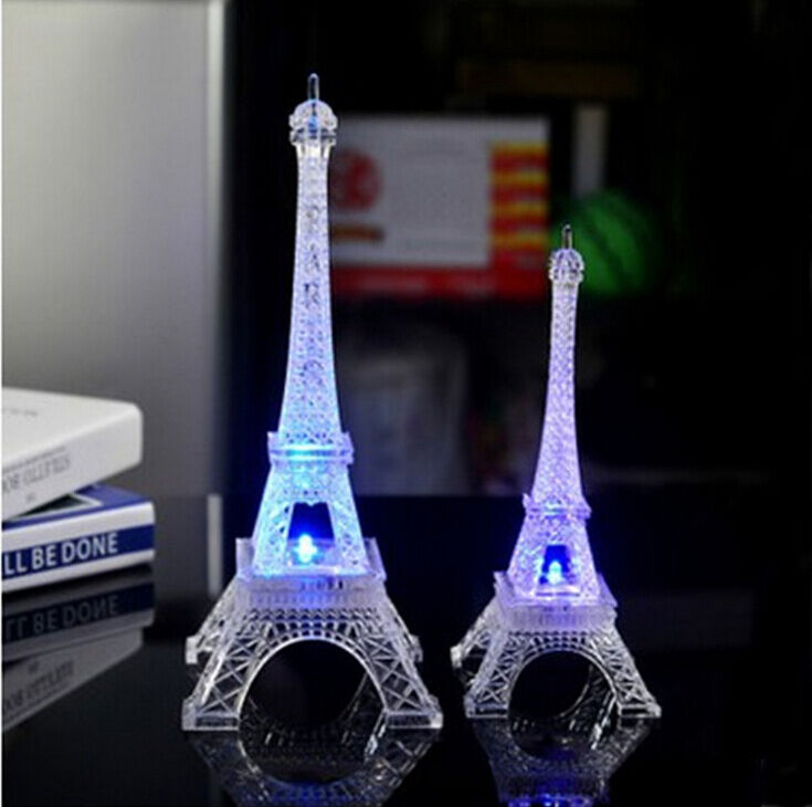 LED Night Light Paris Eiffel Tower Crafts Creative Souvenir Model Table Miniaturas Desk Vintage Figurine Craft Home Decor