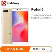 Оригинальный Xiaomi Redmi 6 3 ГБ 32 ГБ смартфон Helio P22 Восьмиядерный процессор 12 Мп + 5 МП Две камеры 5,45