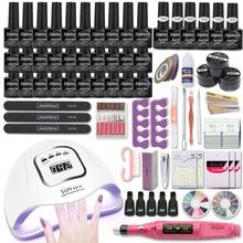 Kit de manicura con lámpara UV, 120W/80W/54W, 30/20 colores, conjunto de herramientas para manicura, lima de uñas, capa Base superior