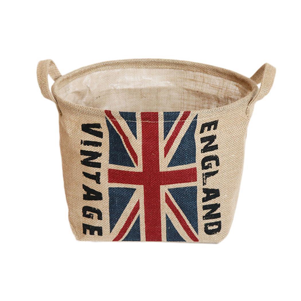 Cotton Linen Storage Bucket Waterproof Household Sundries Storage Basket