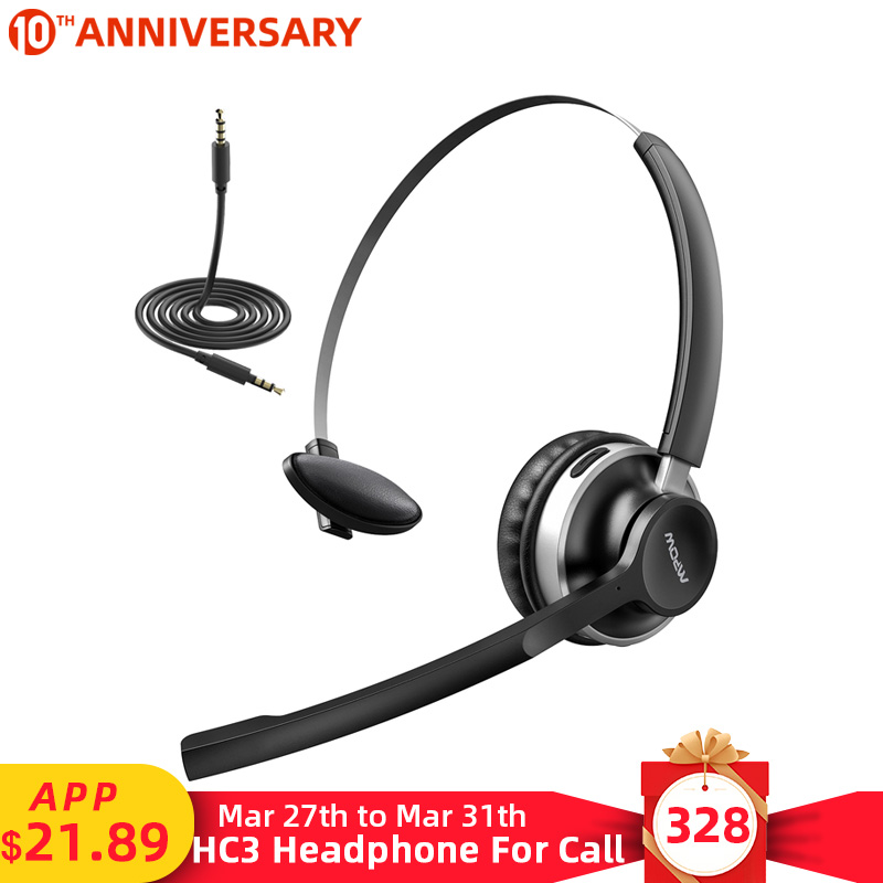 Mpow HC3 <font><b>Bluetooth</b></font> <font><b>5.0</b></font> <font><b>Headphone</b></font> Dual Noise Cancelling Microphone Clear Wireless&Wired Headset For PC Laptop Call Center Phones image