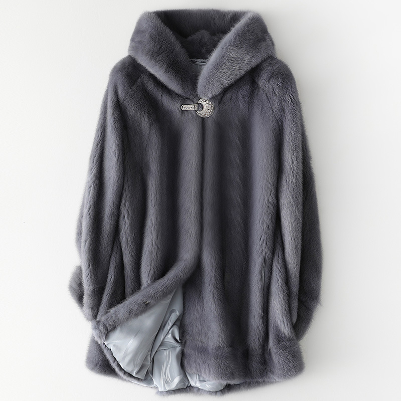 [Long-term Stock] New Autumn And Winter Imported Whole Mink Hooded Mink Coat Ladies Fur Fashion Warm Jacket