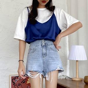 GUUZYUVIZ Vintage Blue Ripped Jeans Woman High Waist Hot Pants Jeans Ladies Korean Summer 2020 Loose Denim Shorts Jeans Feminino(China)