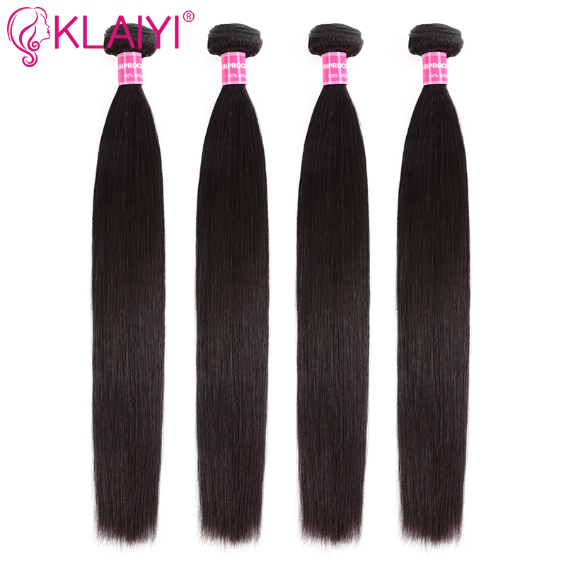 KLAIYI Hair 8-30 Inch Malaysian Straight Hair Bundles 100% Human Hair Extension Can Be Dyed Remy Hair Weaves Natural Black Color