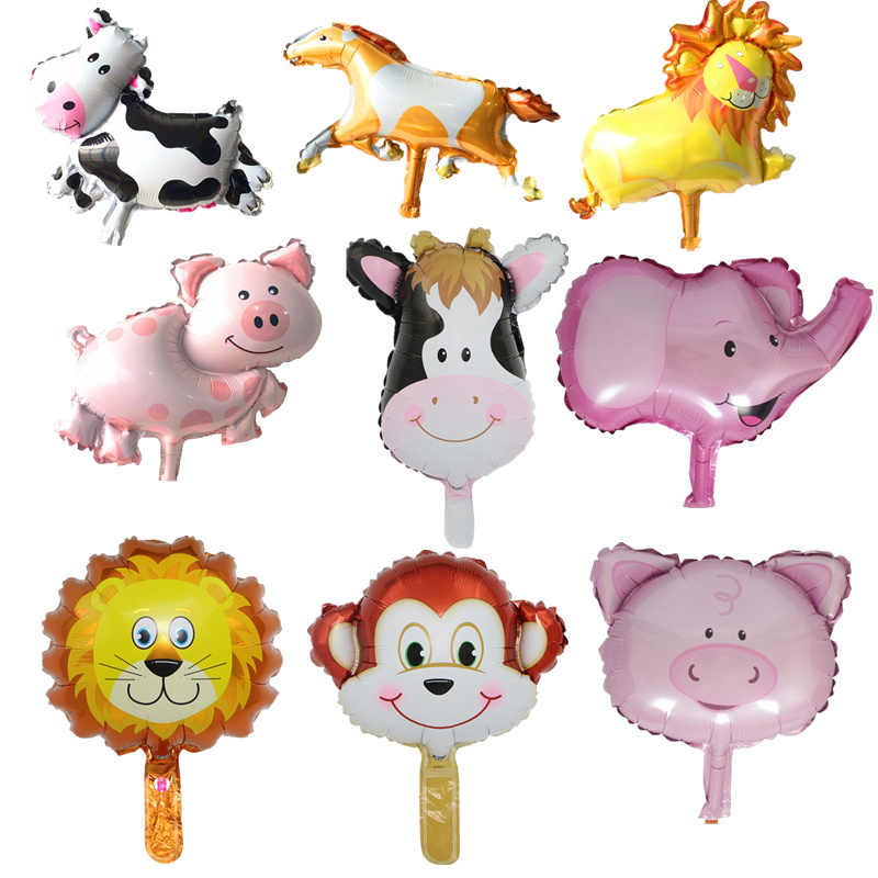 1 piezas De cerdo De dibujos animados De vaca Mini globo bebé ducha globo Animal Foil Globos De aire fiesta decoración De Globos Baloes De festa