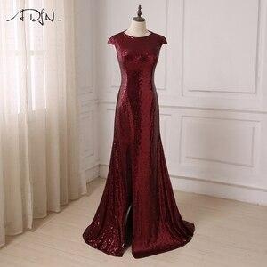 Image 1 - Czyszczenie magazynu wyprzedaż ADLN Mermaid suknia wieczorowa z rozcięciem cekinowa tanie suknia wieczorowa z długimi rękawami różowe złoto/zielony/bordowy/czarny/czerwony/niebieski