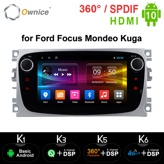 Ownice Android 10.0 araba DVD oynatıcı 2 Din radyo GPS Navi Ford Focus Mondeo Kuga C MAX S MAX Galaxy ses stereo kafa ünitesi