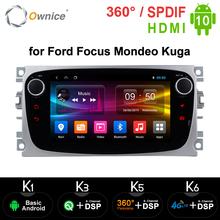 Ownice Android 10 0 samochodowy odtwarzacz DVD 2 Din radio GPS Navi dla Ford Focus Mondeo Kuga C-MAX S-MAX Galaxy Audio Stereo jednostka główna tanie tanio Double Din 7 quot 4*45W 128G Jpeg 1G 2G 4G 1024*600 Bluetooth Wbudowany gps Ładowarka Tuner radiowy Ekran dotykowy